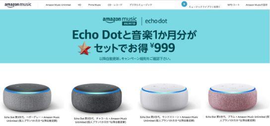 echo dot+unlimited_キャンペーン時の画面