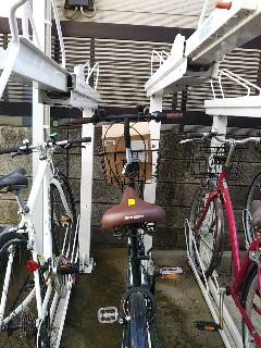 自転車のかごの中にある荷物